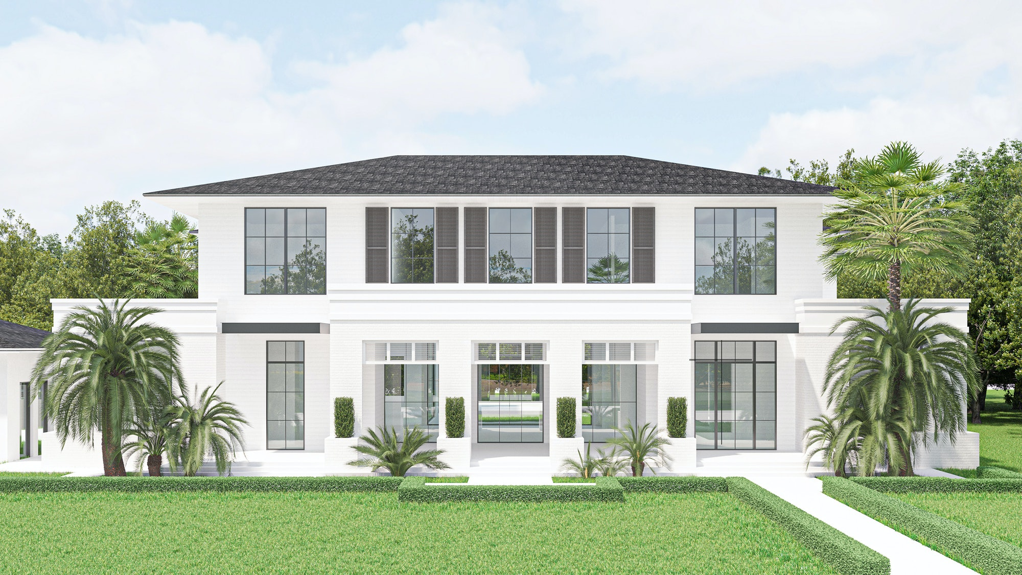 Front render of Via Lombardy House